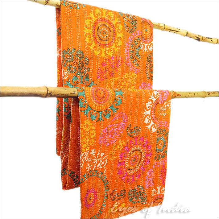 double orange set indien coton tapisserie couvre lit couverture d cor ebay. Black Bedroom Furniture Sets. Home Design Ideas