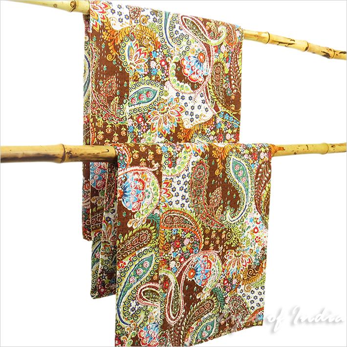 Queen braun kantha gesteppte tagesdecke dekorativ t rkisch for Tagesdecke paisley