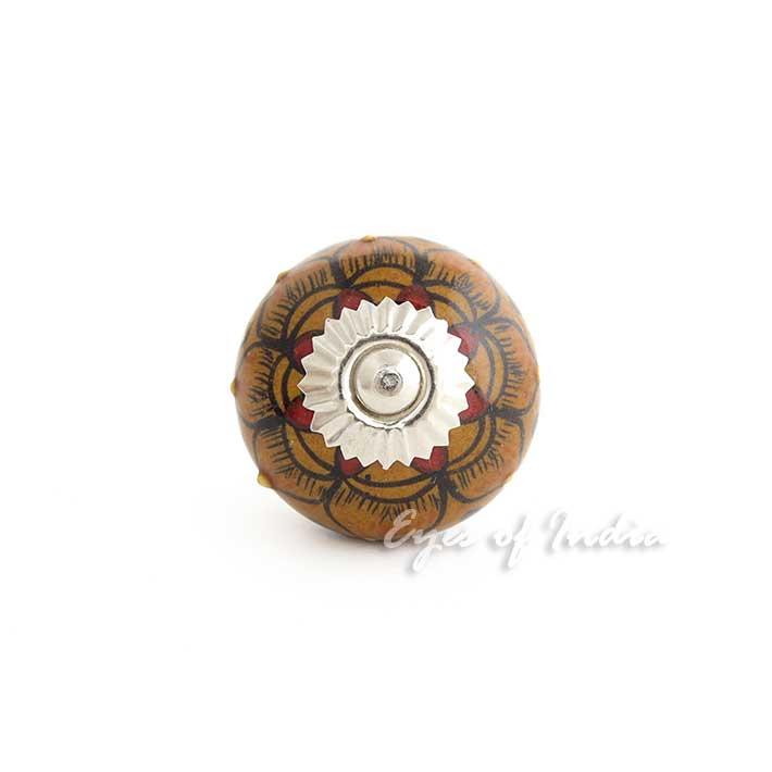 brown ceramic door dresser cabinet cupboard knobs pulls decorative