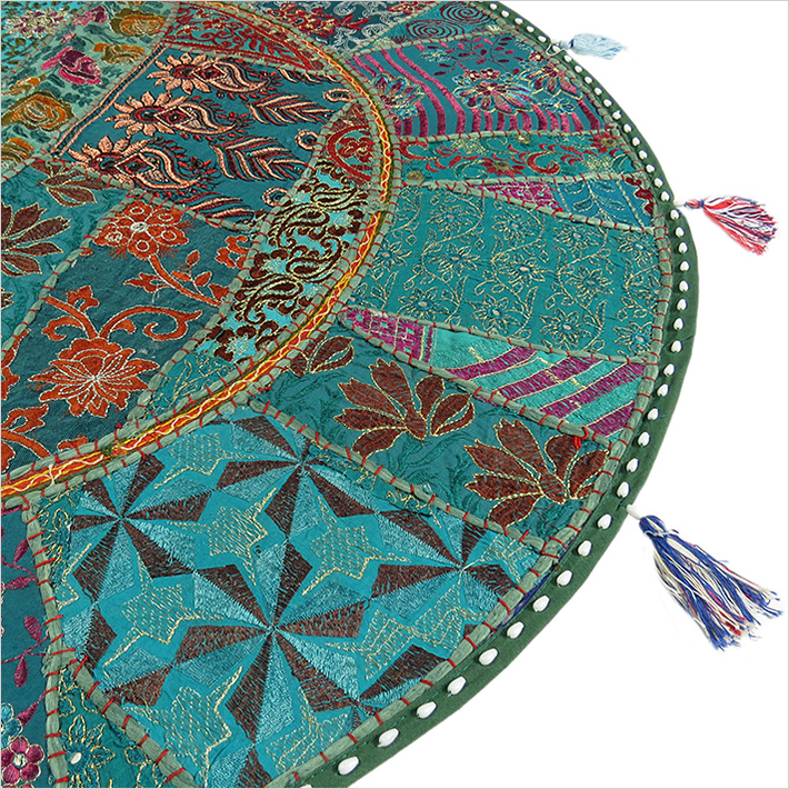40 green oversized round floor pillow cushion cover seating tapestry ethnic art ebay. Black Bedroom Furniture Sets. Home Design Ideas