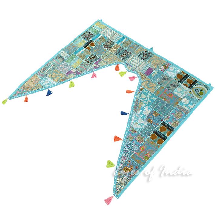40 blau patchwork fenster t r volant toran wandbehang for Indische tur