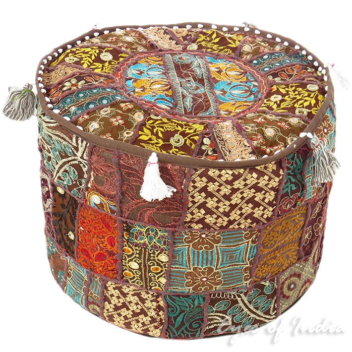 Braune runde indian polsterhocker blumen bestickt patchwork ethnische - Etnische pouf ...