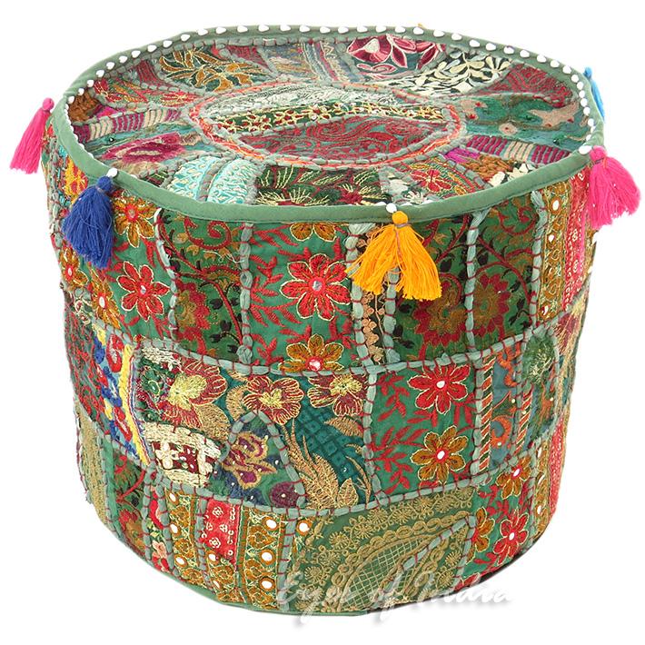 Gr n rund bestickt patchwork polsterhocker bohemian ethnische dekoration ebay - Etnische pouf ...