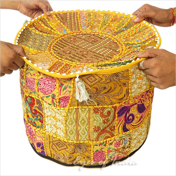 17 gelb rund patchwork bestickter polsterhocker ethno boho deko ebay - Etnische pouf ...