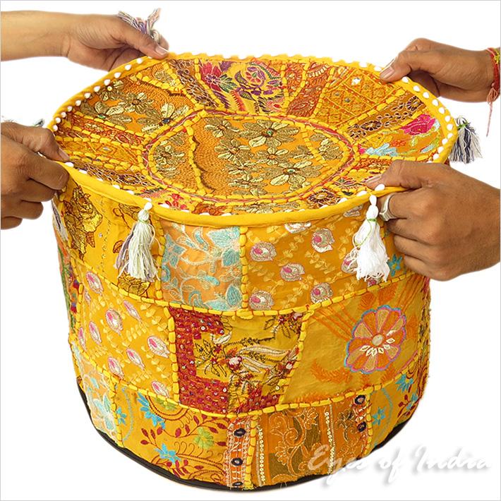17 bestickt patchwork sitzkissen bohemian ethnische indische dekoration ebay - Etnische pouf ...