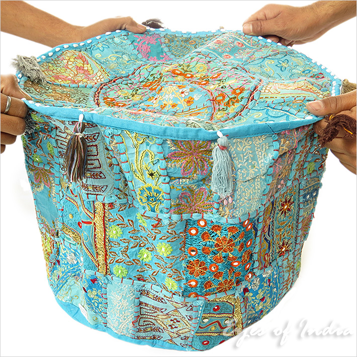 Blau rund indian polsterhocker blumen stickerei patchwork ethnische ebay - Etnische pouf ...