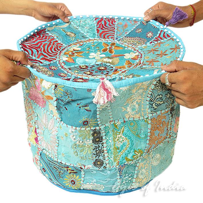 17 blau rund besticktes patchwork polsterhocker ethnisch indisch dekorativ ebay - Etnische pouf ...