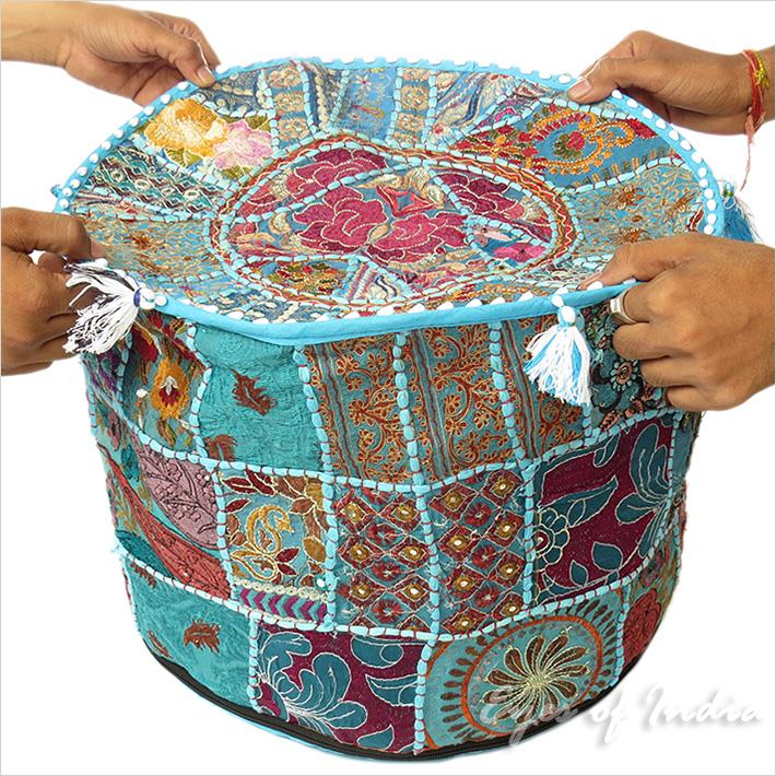 17 blau rundes indisches sitzkissen blumen stickerei patchwork ethnische ebay - Etnische pouf ...