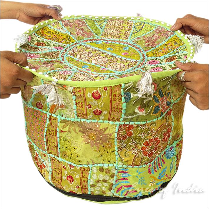 43.2x30.5cm Piccolo Verde Patchwork Rotondo Pouf Pouffe Ottomano Copertura  eBay