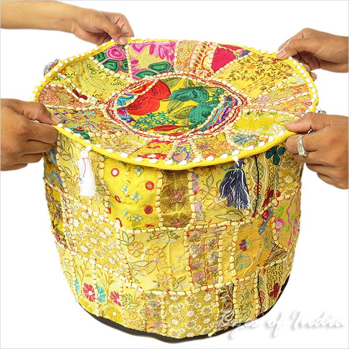 17 polsterhocker blumenmuster bestickt patchwork ethnische indische dekoration ebay - Etnische pouf ...