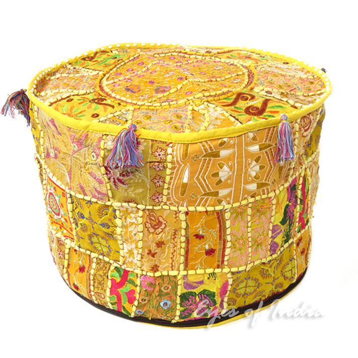 22 gelb rund blumenmuster polsterhocker bestickt patchwork ethnische dekoration ebay - Etnische pouf ...