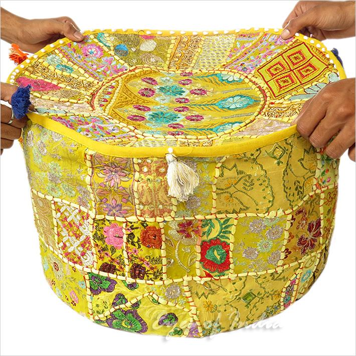 22 gelb runde stickerei patchwork sitzkissen ethnisch bestickt dekor ebay - Etnische pouf ...