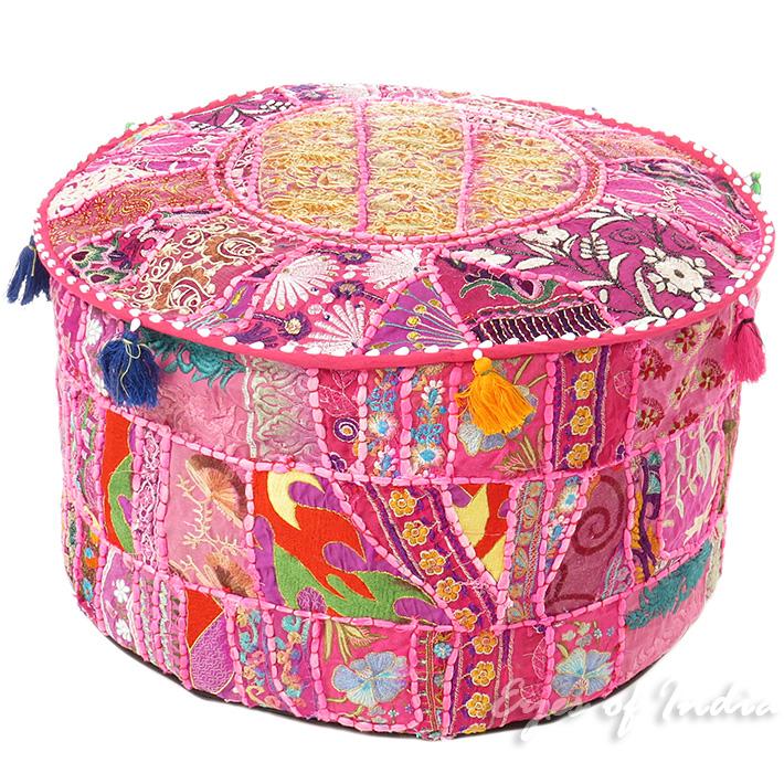 55 9 cm rosa rundes indisches sitzkissen florale stickerei patchwork ethnische ebay - Etnische pouf ...