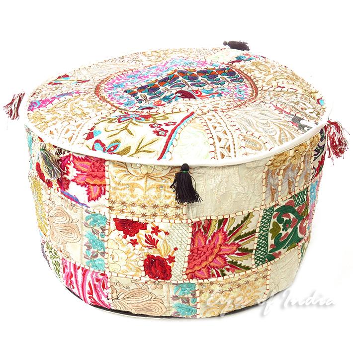 22 wei rund besticktes patchwork polsterhocker ethnisch indisch dekorativ ebay - Etnische pouf ...