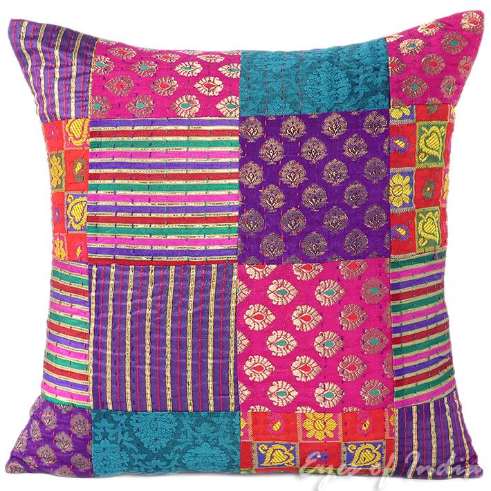 Pink Kantha Brocade Decorative Throw Sofa Cushion Pillow Cover - 16