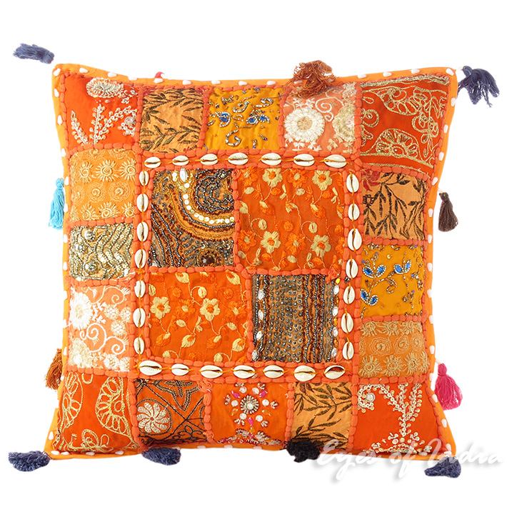 Orange patchwork dekorativ sofa kissenbezug boho for Indische sofas
