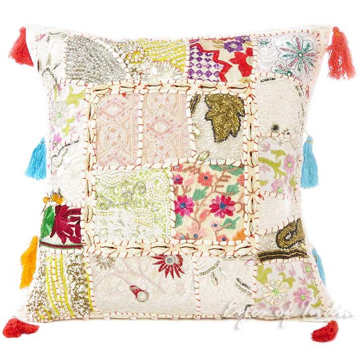 16 petit format blanc patchwork oreiller jet housse coussin canap boho. Black Bedroom Furniture Sets. Home Design Ideas
