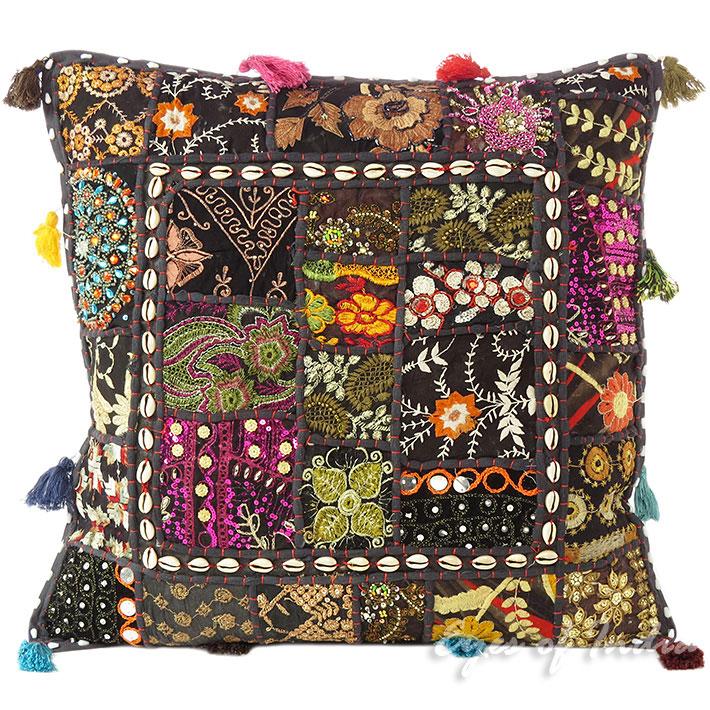 20 schwarz patchwork sofa kissenbezug boho indisch for Sofa indisch