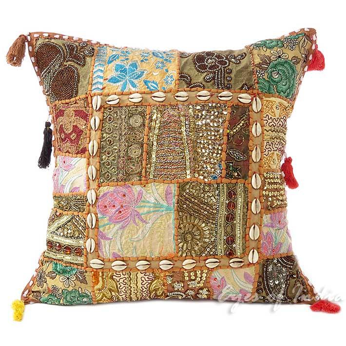 20 patchwork brun oreiller jet housse coussin canap d cor boh me ebay. Black Bedroom Furniture Sets. Home Design Ideas