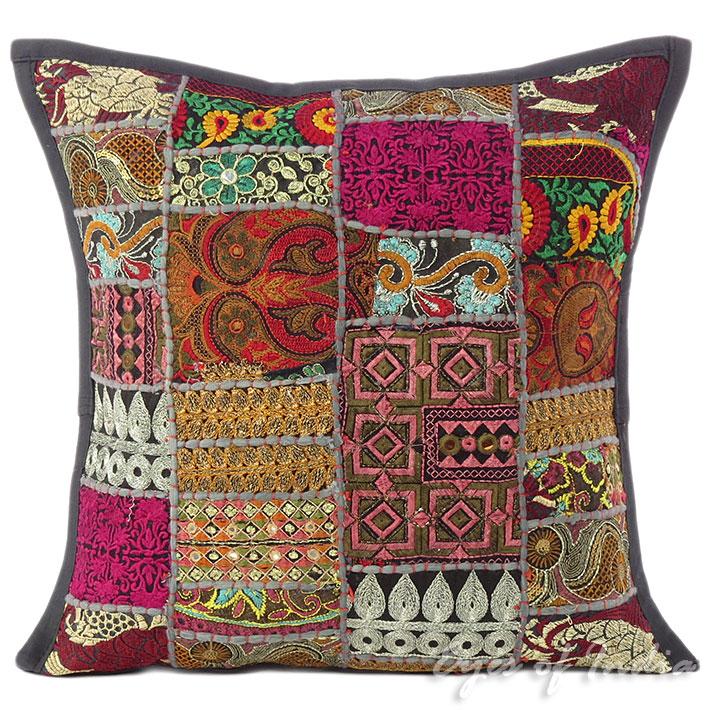 16 schwarz flickwerk dekorativ kissen sofa berwurf boho for Indisches sofa