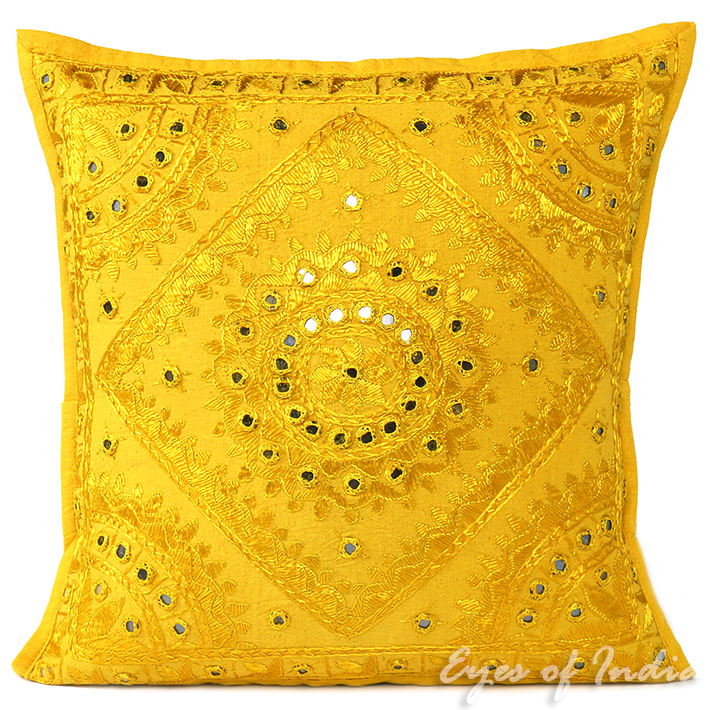 Yellow Embroidered Throw Pillows : 16