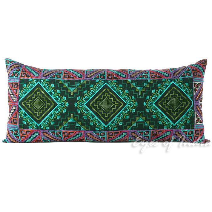 gr n lila bestickt nackenrolle kissen kissenbezug marokkanische ebay. Black Bedroom Furniture Sets. Home Design Ideas