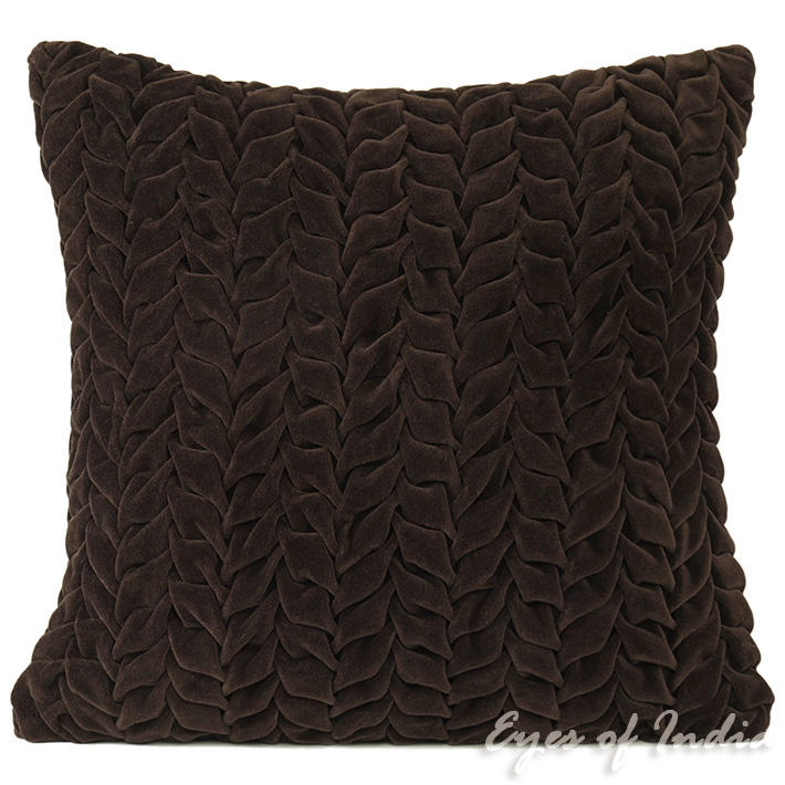 "Brown Sofa Pillows: 16"" BROWN VELVET DECORATIVE THROW SOFA PILLOW CUSHION"