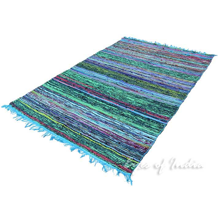 Rag Rug Prices: 3.5 X 5.5 Ft BLUE COLORFUL DECORATIVE WOVEN RAG RUG CHINDI