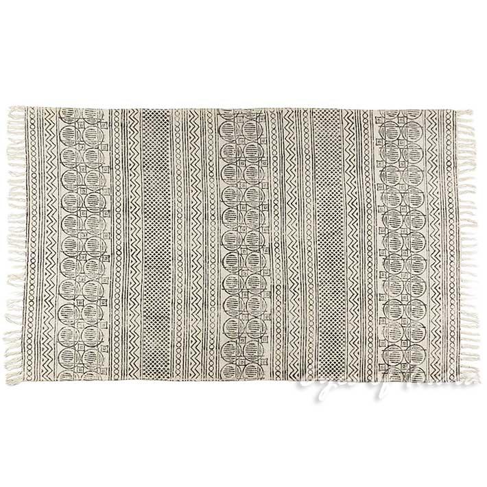 09x15m Weiß Schwarz Baumwolle Block Druckfläche Akzent