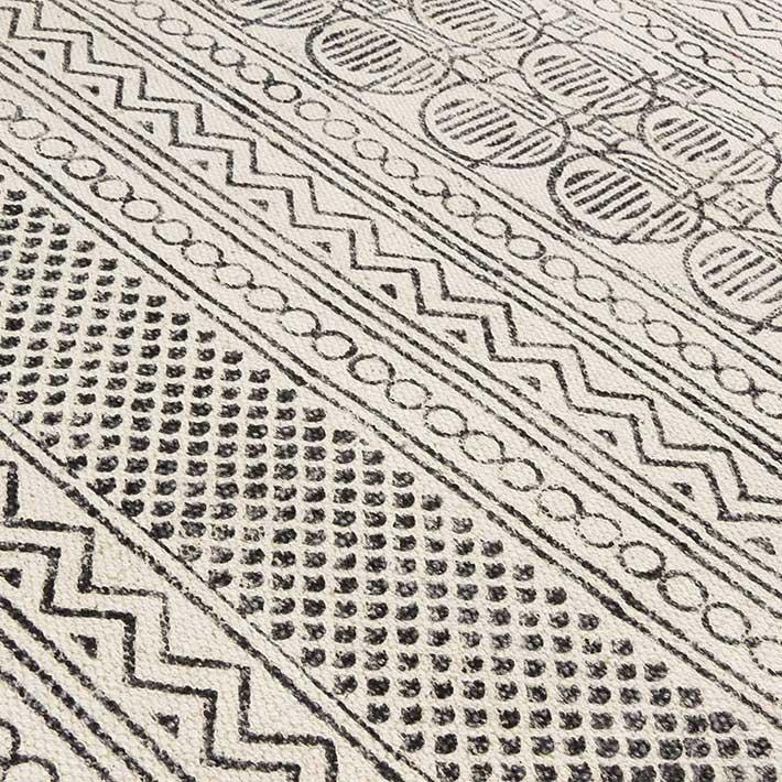 09x15m Weiß Schwarz Baumwolle Block Druckfläche Akzen