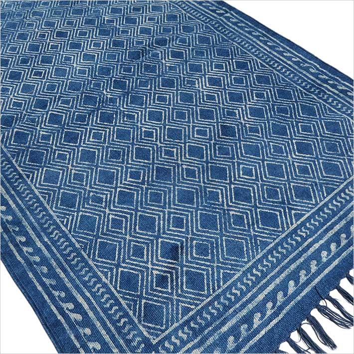 baumwolle gedruckt bereich akzent dhurrie teppich flach weben gewebt. Black Bedroom Furniture Sets. Home Design Ideas