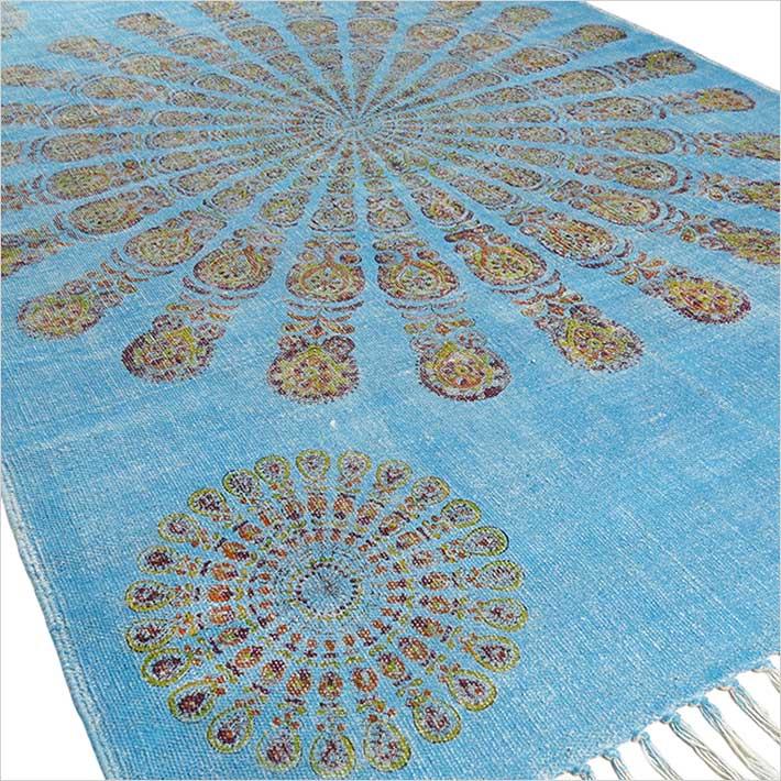 1 blu mandala cotone stampato area accento dhurrie - Tappeto mandala ...