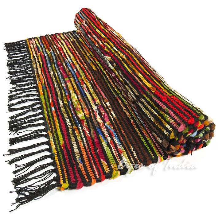 Rag Rug Prices: 3 X 5 Ft Black Rag Rug Chindi Floor Mat Carpet Tapestry