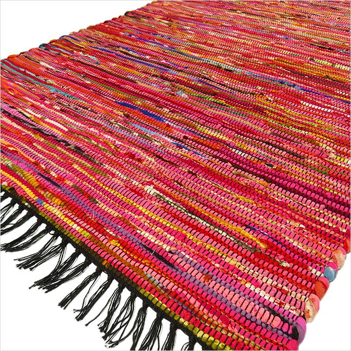 3 X 5 Ft Red Pink Colorful Woven Chindi Rag Rug Boho