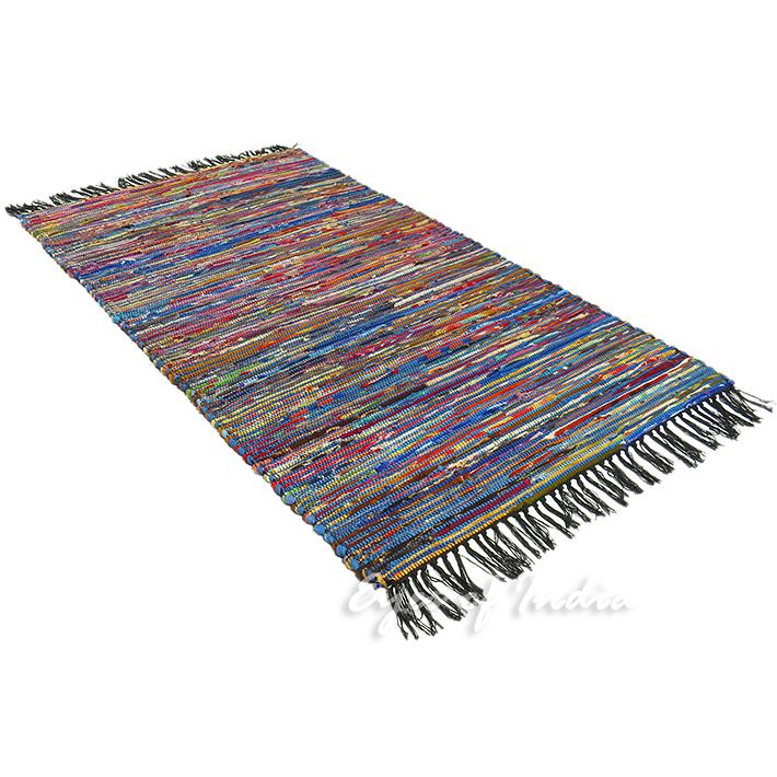 3 X 5 Ft Blue Rag Rug Chindi Floor Mat Carpet Tapestry