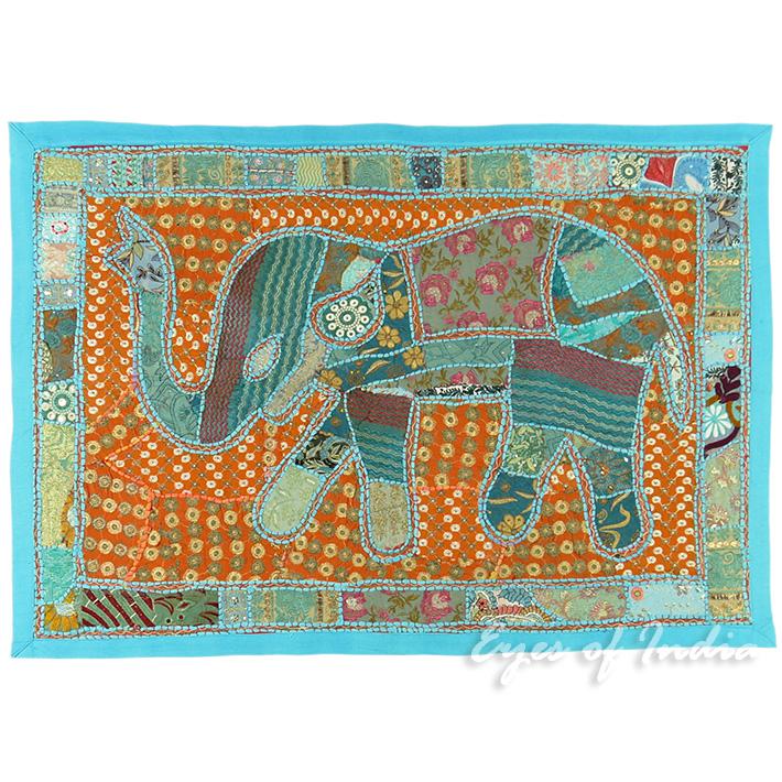 45 bleu l phant animal brod plein de couleurs for Tapisserie murale de luxe