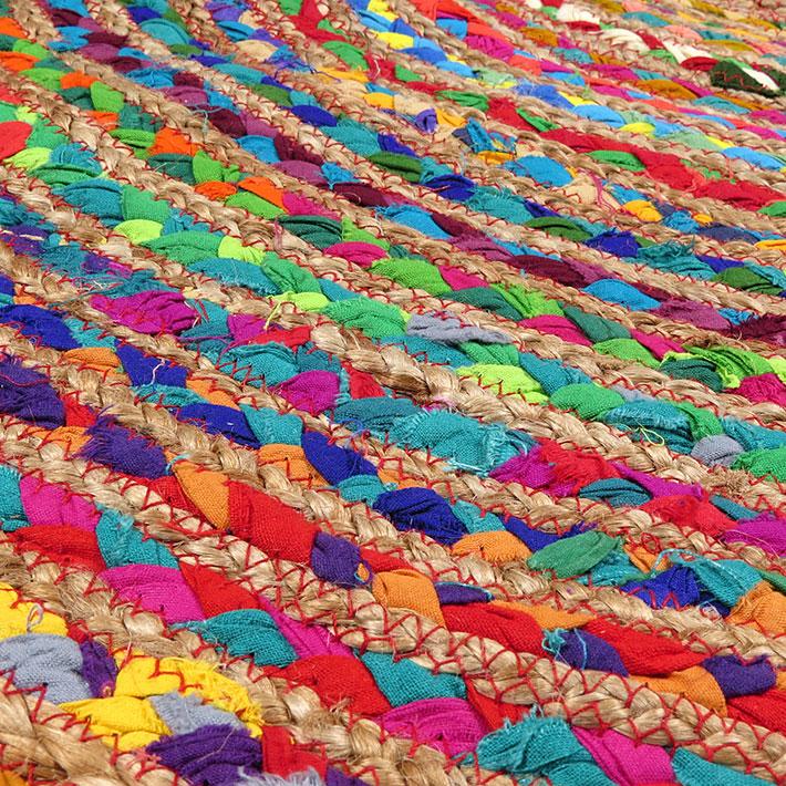 Round Tan Natural Jute Chindi Sisal Woven Area Braided