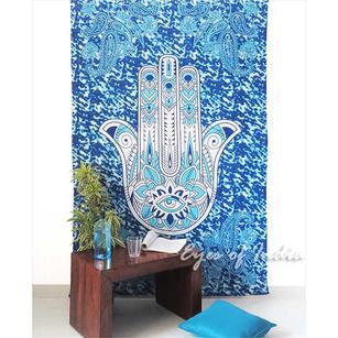 Blue Hamsa Hippie Peace Boho Bohemian Tapestry Bedspread Wall Hanging - Twin/Single