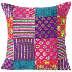 "Pink Kantha Brocade Decorative Throw Sofa Cushion Pillow Cover - 16"""