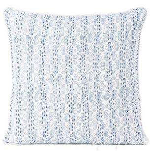 Blue Kantha Block Printed Decorative Throw Cushion Pillow Cover - 16""