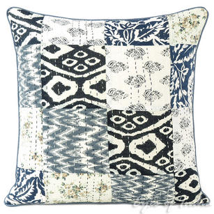 Black and Grey Kantha Decorative Sofa Throw Pillow Cushion Cover- 16""