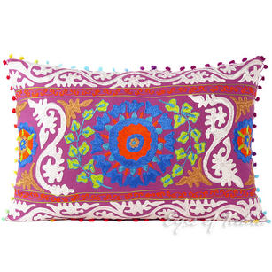 Purple Suzani Embroidered Decorative Throw Pillow Cushion Cover - 24 X 16""