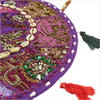 """Purple Round Decorative Floor Cushion Pillow Cover with Shells - 17"""""""