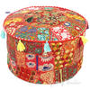 """Red Patchwork Round Ottoman Pouf Cover - 22 X 12"""""""
