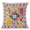 White Rajkoti Patchwork Decorative Pillow Cushion Cover - 16 X 16""