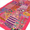"""Pink Embroidered Patchwork Tapestry Wall Hanging - 20 X 60"""""""