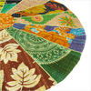 """Colorful Kantha Round Floor Pillow Cushion Cover - 22"""""""