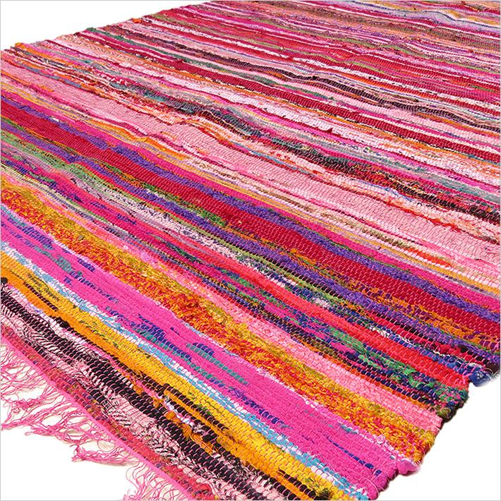 1 rosa bunt gewebt chindi fleckerlteppich bohemian indian boho dekor. Black Bedroom Furniture Sets. Home Design Ideas