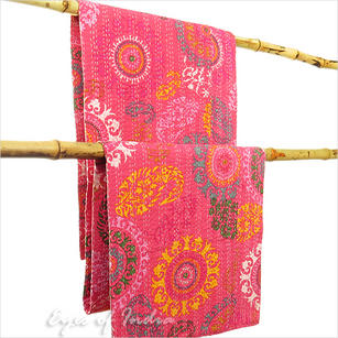 Kantha Embroidered Tapestry Throw Quilt Bedspread - Queen/Double