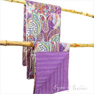 Paisley Kantha Embroidered Tapestry Throw Quilt Bedspread - Twin/Single